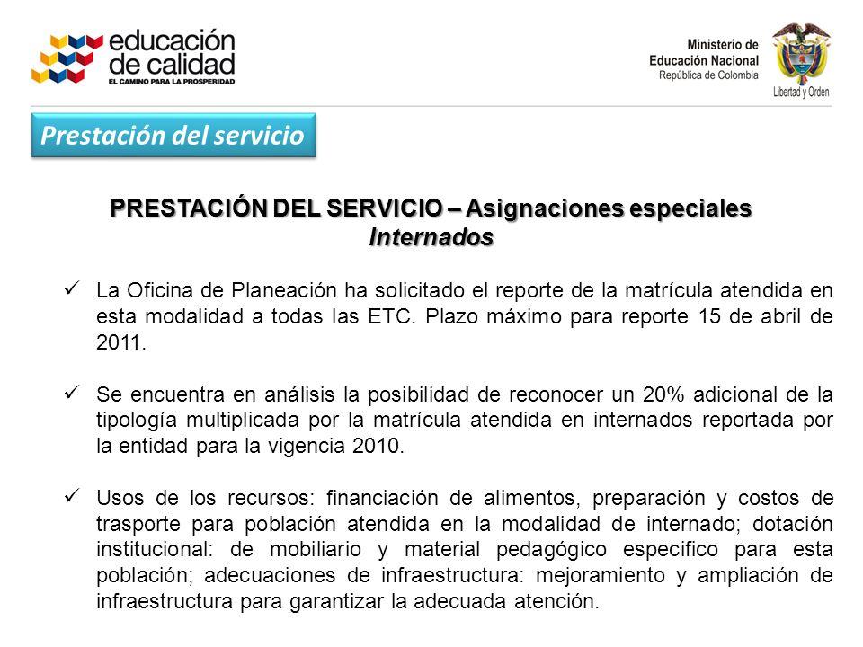 PRESTACIÓN DEL SERVICIO – Asignaciones especiales Internados La Oficina de Planeación ha solicitado el reporte de la matrícula atendida en esta modalidad a todas las ETC.