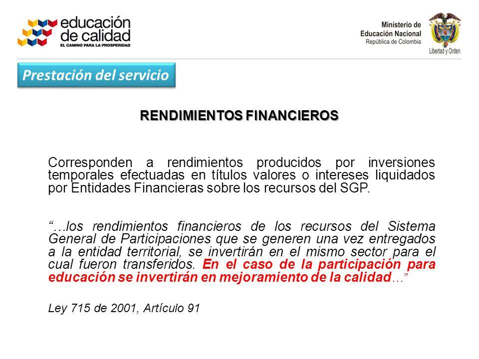 RENDIMIENTOS FINANCIEROS Corresponden a rendimientos producidos por inversiones temporales efectuadas en títulos valores o intereses liquidados por Entidades Financieras sobre los recursos del SGP.