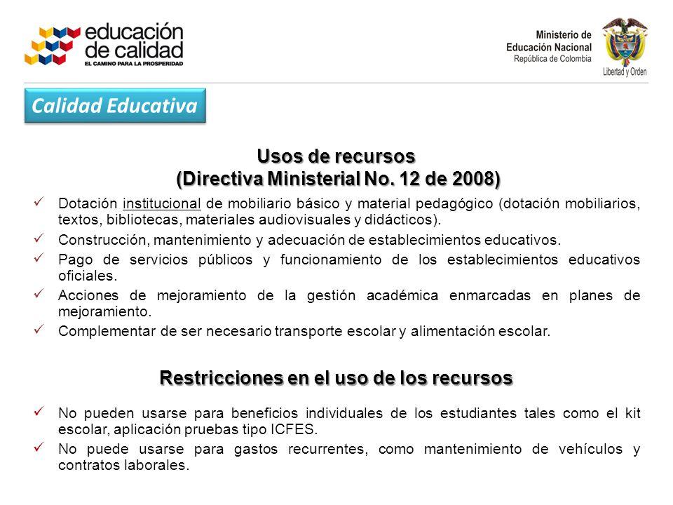 Usos de recursos (Directiva Ministerial No.12 de 2008) (Directiva Ministerial No.
