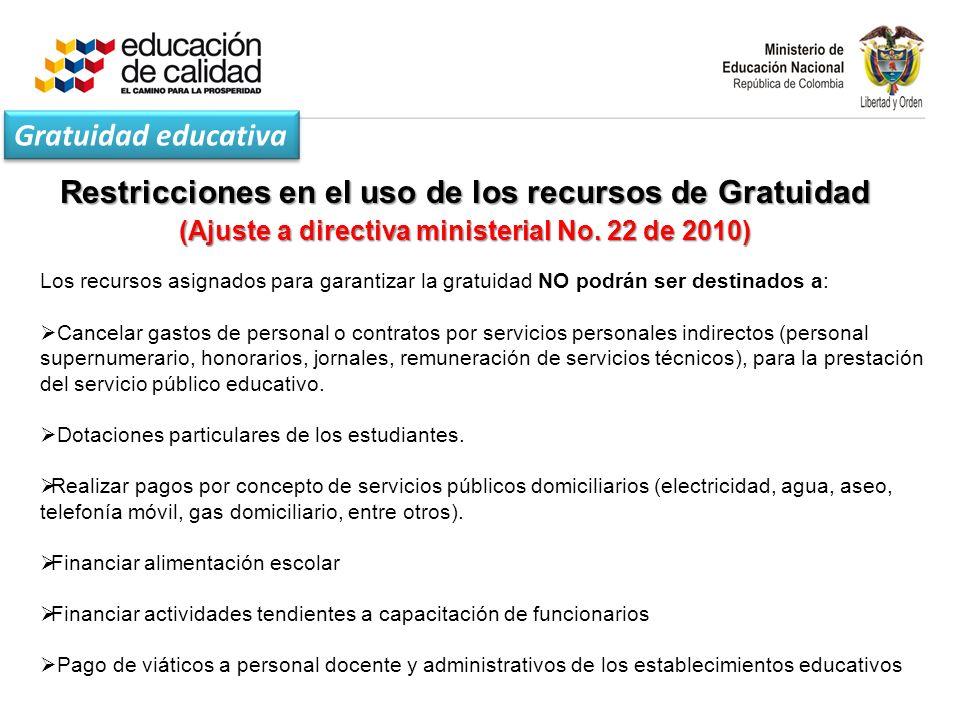 Restricciones en el uso de los recursos de Gratuidad (Ajuste a directiva ministerial No.