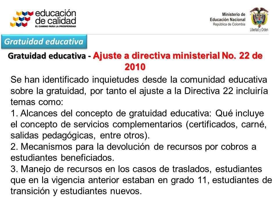 Gratuidad educativa - Ajuste a directiva ministerial No.