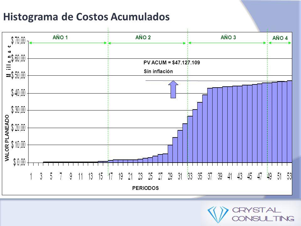 Histograma de Costos Acumulados PV ACUM = $47.127.109 Sin inflación PERIODOS VALOR PLANEADO AÑO 1AÑO 2AÑO 3 AÑO 4