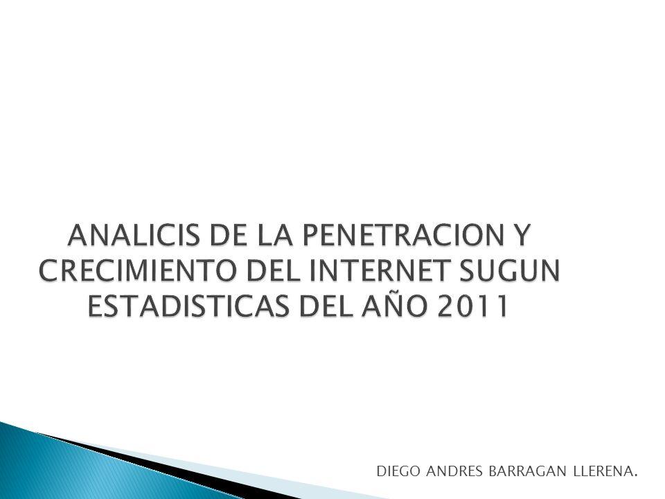 ANALICIS DE LA PENETRACION Y CRECIMIENTO DEL INTERNET SUGUN ESTADISTICAS DEL AÑO 2011 DIEGO ANDRES BARRAGAN LLERENA.