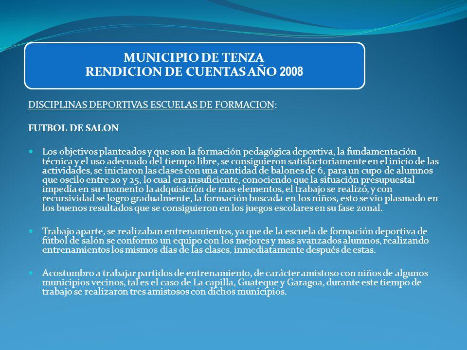 DISCIPLINAS DEPORTIVAS ESCUELAS DE FORMACION: FUTBOL DE SALON Los objetivos planteados y que son la formación pedagógica deportiva, la fundamentación
