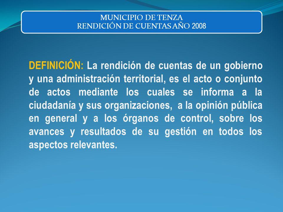 DEFINICIÓN: La rendición de cuentas de un gobierno y una administración territorial, es el acto o conjunto de actos mediante los cuales se informa a l