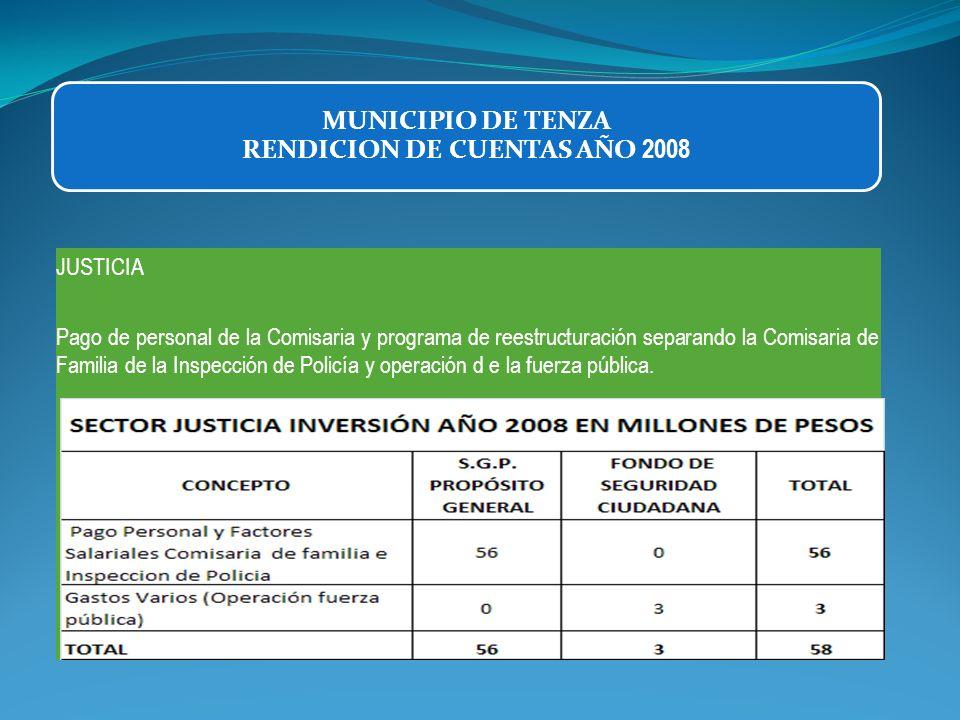 JUSTICIA Pago de personal de la Comisaria y programa de reestructuración separando la Comisaria de Familia de la Inspección de Policía y operación d e