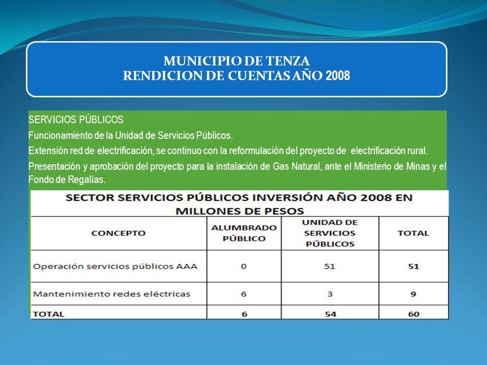 SERVICIOS PÚBLICOS Funcionamiento de la Unidad de Servicios Públicos. Extensión red de electrificación, se continuo con la reformulación del proyecto