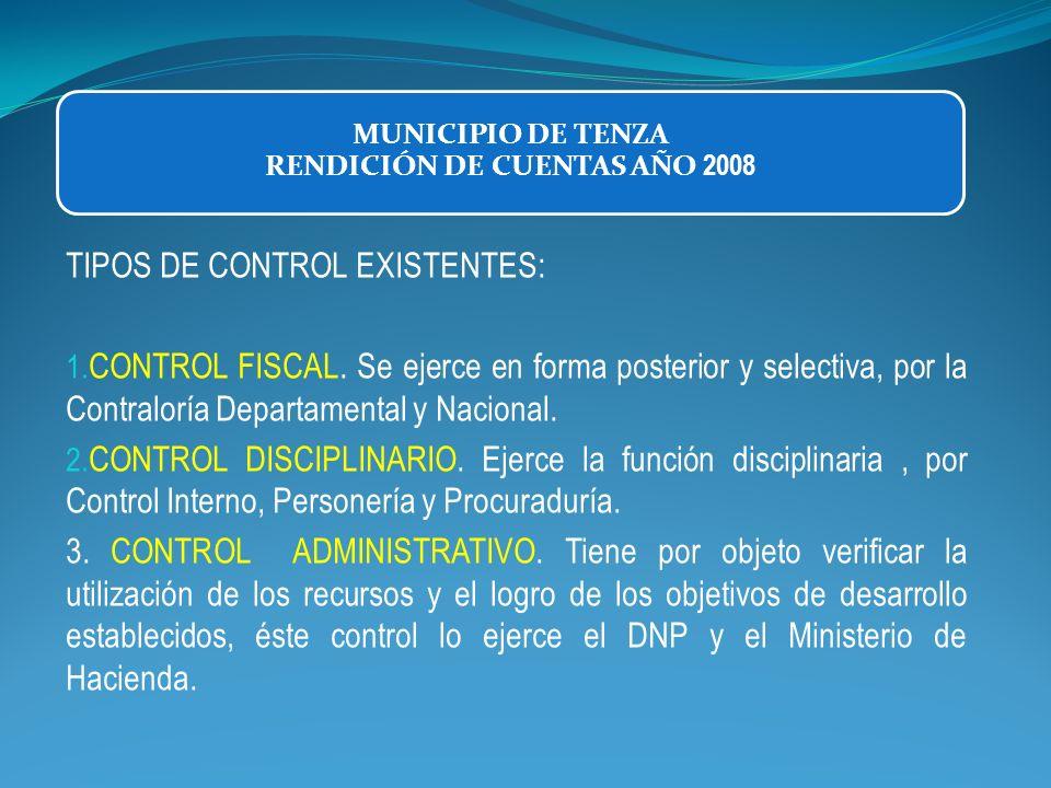 MUNICIPIO DE TENZA RENDICIÓN DE CUENTAS AÑO 2008 TIPOS DE CONTROL EXISTENTES: 1. CONTROL FISCAL. Se ejerce en forma posterior y selectiva, por la Cont