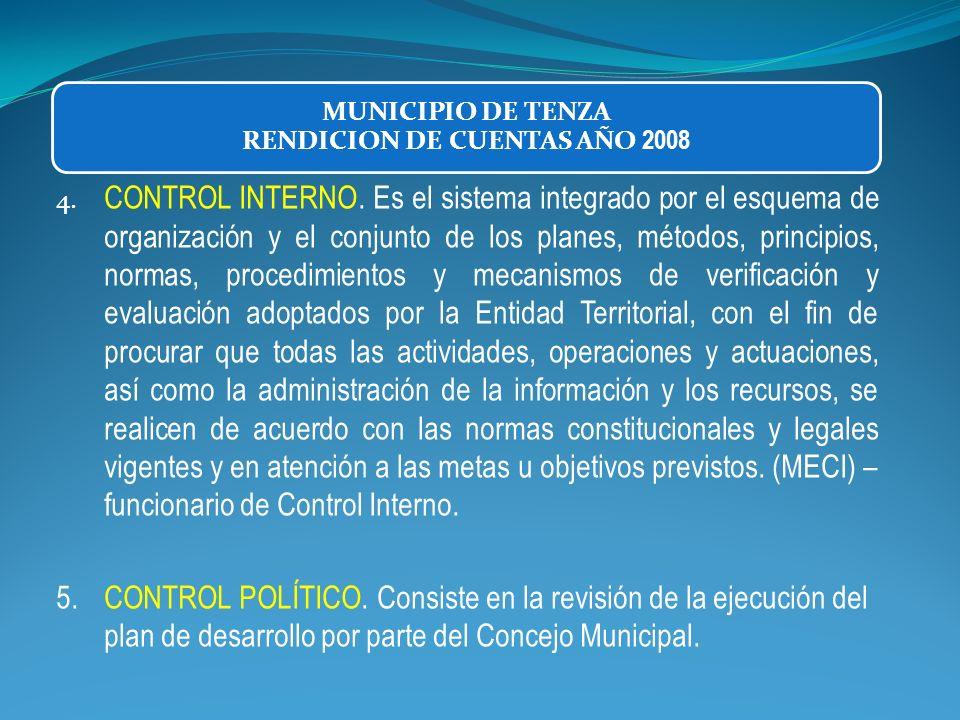 4. CONTROL INTERNO. Es el sistema integrado por el esquema de organización y el conjunto de los planes, métodos, principios, normas, procedimientos y
