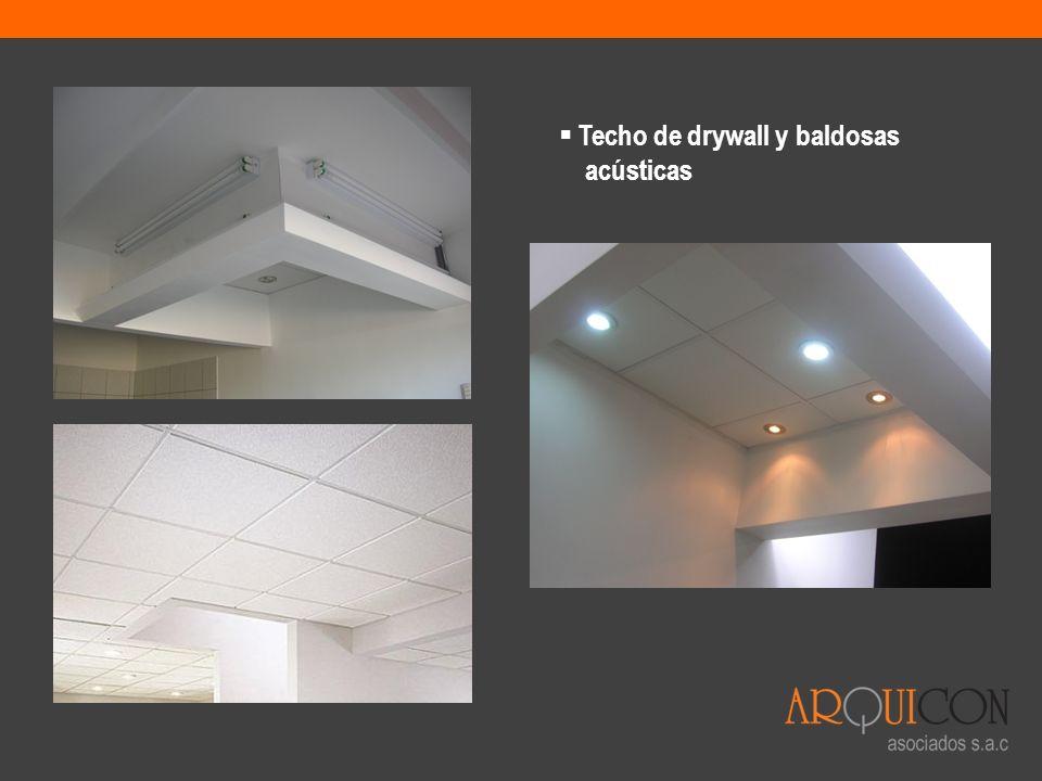 Techo de drywall y baldosas acústicas