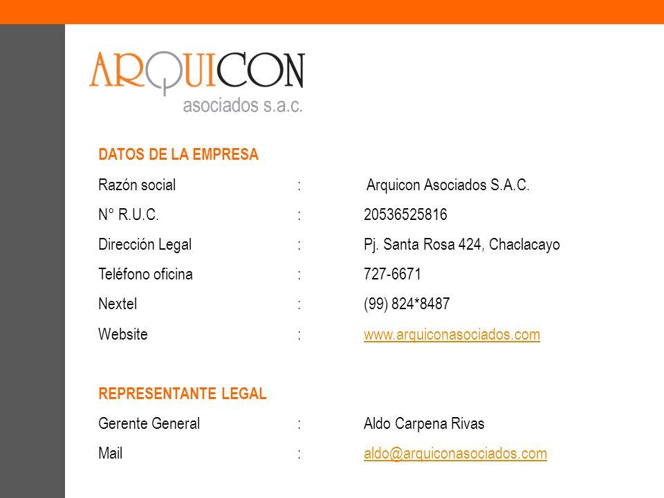 DATOS DE LA EMPRESA Razón social: Arquicon Asociados S.A.C. N° R.U.C.:20536525816 Dirección Legal:Pj. Santa Rosa 424, Chaclacayo Teléfono oficina:727-