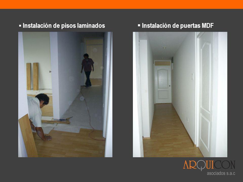 Instalación de pisos laminados Instalación de puertas MDF