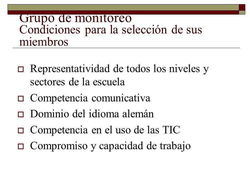 Grupo de monitoreo Condiciones para la selección de sus miembros Representatividad de todos los niveles y sectores de la escuela Competencia comunicativa Dominio del idioma alemán Competencia en el uso de las TIC Compromiso y capacidad de trabajo
