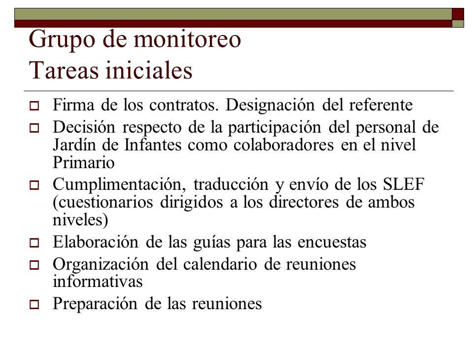 Grupo de monitoreo Tareas iniciales Firma de los contratos.