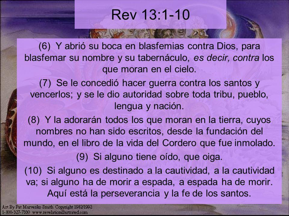Rev 13:11-18 (11) Y vi otra bestia que subía de la tierra; tenía dos cuernos semejantes a los de un cordero y hablaba como un dragón.