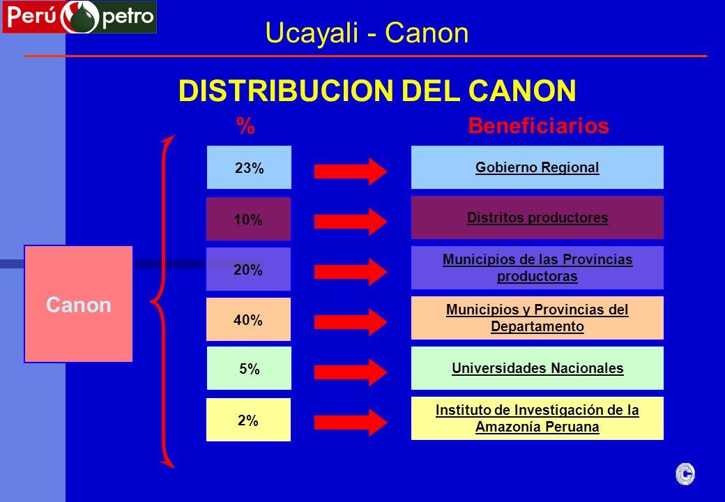% Gobierno Regional Beneficiarios Canon 23% DISTRIBUCION DEL CANON Distritos productores 10% Municipios de las Provincias productoras 20% Municipios y
