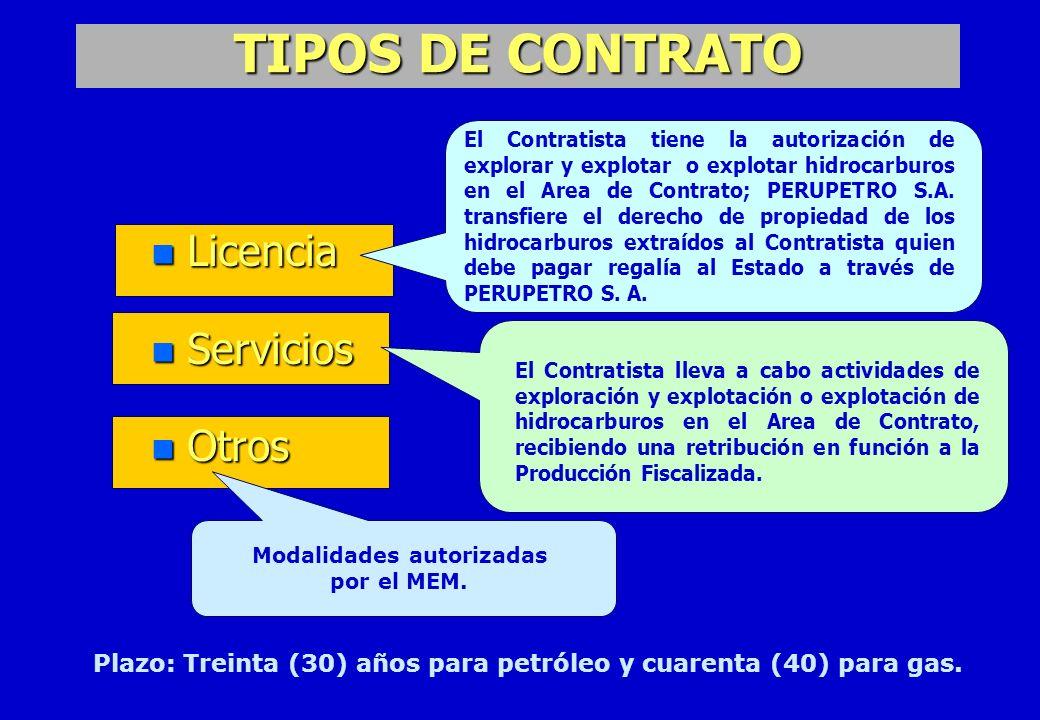 TIPOS DE CONTRATO n Licencia n Servicios n Otros El Contratista tiene la autorización de explorar y explotar o explotar hidrocarburos en el Area de Co