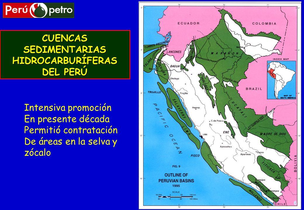 6 CUENCAS SEDIMENTARIAS HIDROCARBURÍFERAS DEL PERÚ Intensiva promoción En presente década Permitió contratación De áreas en la selva y zócalo