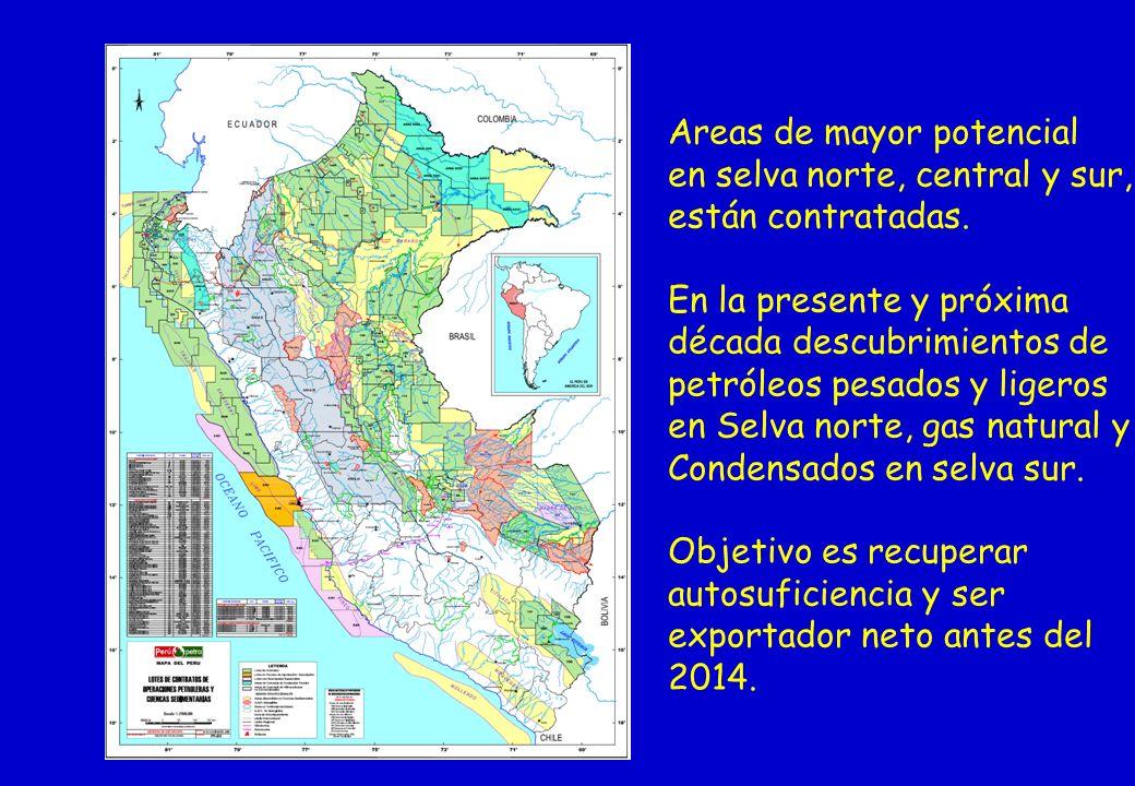 Areas de mayor potencial en selva norte, central y sur, están contratadas. En la presente y próxima década descubrimientos de petróleos pesados y lige
