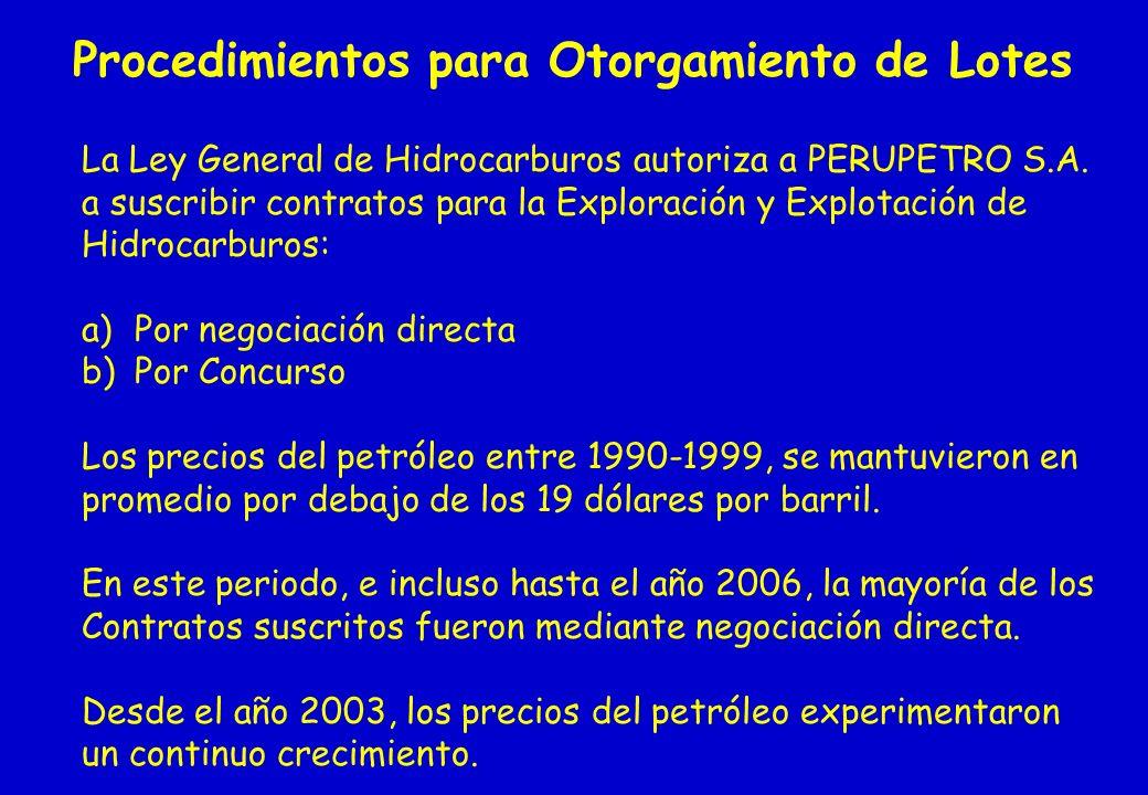 Procedimientos para Otorgamiento de Lotes La Ley General de Hidrocarburos autoriza a PERUPETRO S.A. a suscribir contratos para la Exploración y Explot