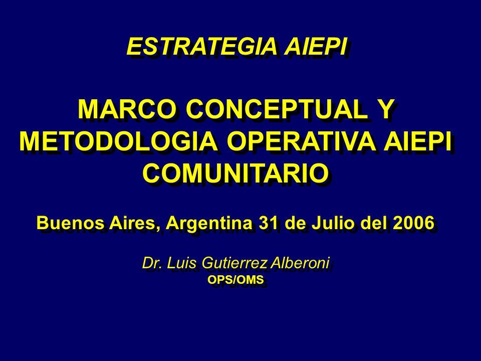 ESTRATEGIA AIEPI MARCO CONCEPTUAL Y METODOLOGIA OPERATIVA AIEPI COMUNITARIO Buenos Aires, Argentina 31 de Julio del 2006 Dr. Luis Gutierrez Alberoni O