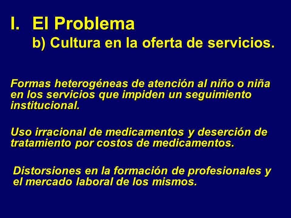 I.El Problema b) Cultura en la oferta de servicios. Formas heterogéneas de atención al niño o niña en los servicios que impiden un seguimiento institu
