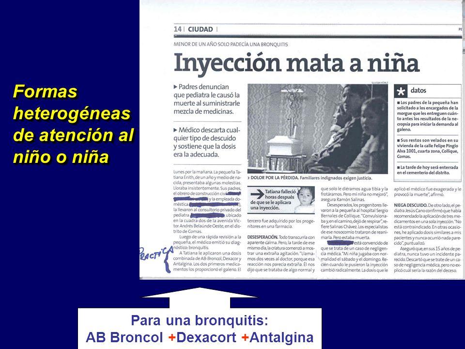 Formas heterogéneas de atención al niño o niña Para una bronquitis: AB Broncol +Dexacort +Antalgina