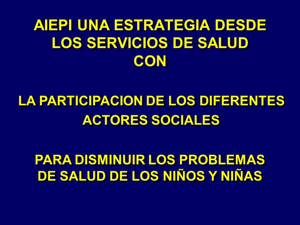 AIEPI UNA ESTRATEGIA DESDE LOS SERVICIOS DE SALUD CON LA PARTICIPACION DE LOS DIFERENTES ACTORES SOCIALES PARA DISMINUIR LOS PROBLEMAS DE SALUD DE LOS