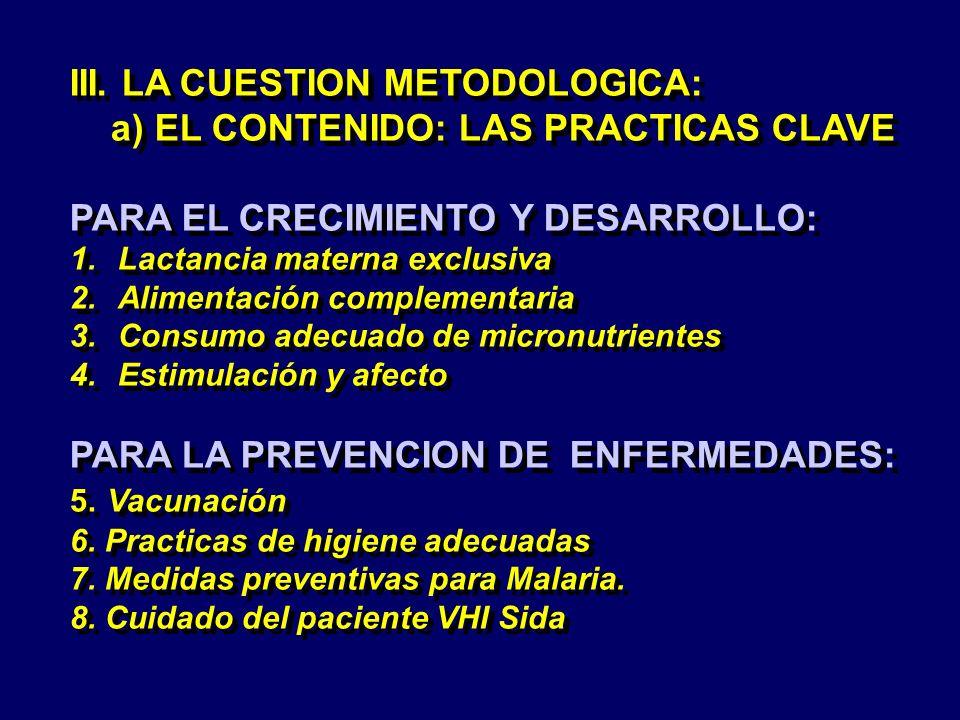 III. LA CUESTION METODOLOGICA: a) EL CONTENIDO: LAS PRACTICAS CLAVE PARA EL CRECIMIENTO Y DESARROLLO: 1.Lactancia materna exclusiva 2.Alimentación com
