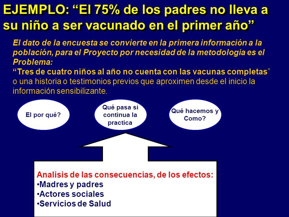 Analisis de las consecuencias, de los efectos: Madres y padres Actores sociales Servicios de Salud El por qué.
