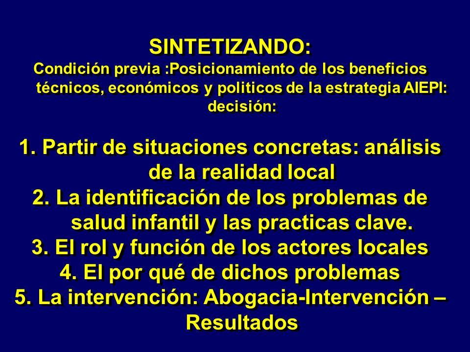 SINTETIZANDO: Condición previa :Posicionamiento de los beneficios técnicos, económicos y politicos de la estrategia AIEPI: decisión: 1.Partir de situa