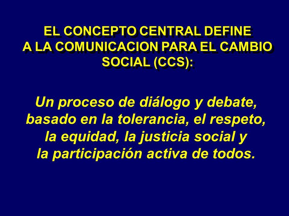 EL CONCEPTO CENTRAL DEFINE A LA COMUNICACION PARA EL CAMBIO SOCIAL (CCS): EL CONCEPTO CENTRAL DEFINE A LA COMUNICACION PARA EL CAMBIO SOCIAL (CCS): Un proceso de diálogo y debate, basado en la tolerancia, el respeto, la equidad, la justicia social y la participación activa de todos.