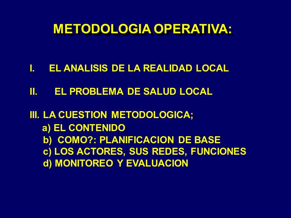 METODOLOGIA OPERATIVA: I.EL ANALISIS DE LA REALIDAD LOCAL II. EL PROBLEMA DE SALUD LOCAL III. LA CUESTION METODOLOGICA; a) EL CONTENIDO b) COMO?: PLAN
