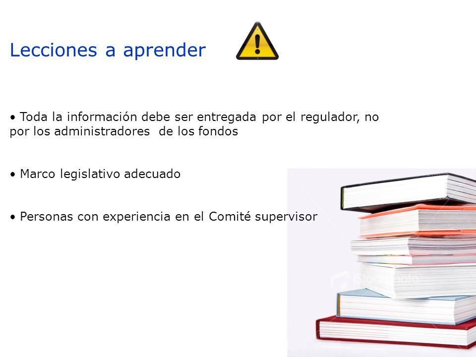 Lecciones a aprender Toda la información debe ser entregada por el regulador, no por los administradores de los fondos Marco legislativo adecuado Personas con experiencia en el Comité supervisor