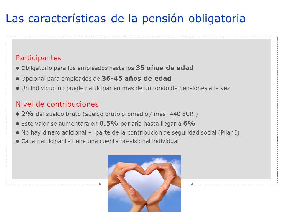Participantes Obligatorio para los empleados hasta los 35 años de edad Opcional para empleados de 36-45 años de edad Un individuo no puede participar en mas de un fondo de pensiones a la vez Nivel de contribuciones 2% del sueldo bruto (sueldo bruto promedio / mes: 440 EUR ) Este valor se aumentará en 0.5% por año hasta llegar a 6% No hay dinero adicional – parte de la contribución de seguridad social (Pilar I) Cada participante tiene una cuenta previsional individual Las características de la pensión obligatoria