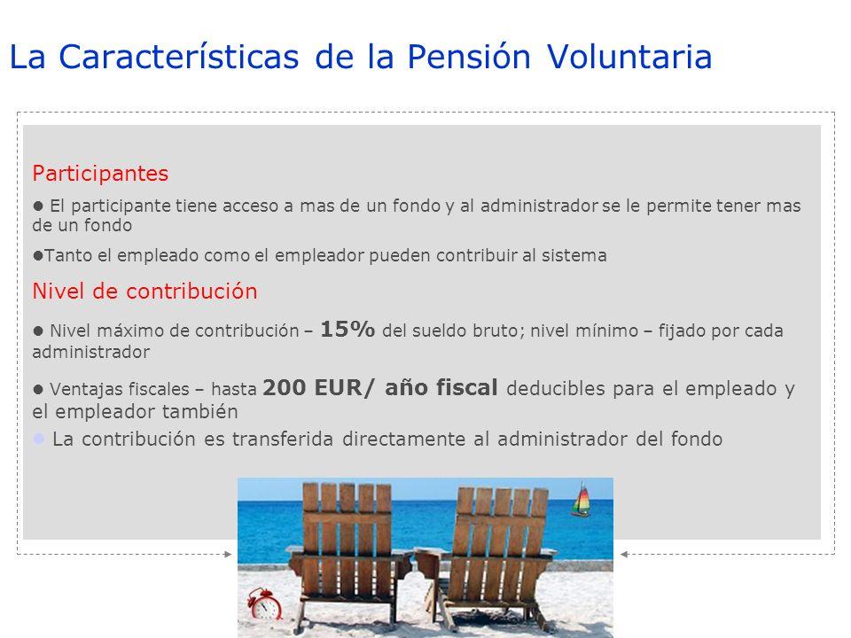 La Características de la Pensión Voluntaria Participantes El participante tiene acceso a mas de un fondo y al administrador se le permite tener mas de