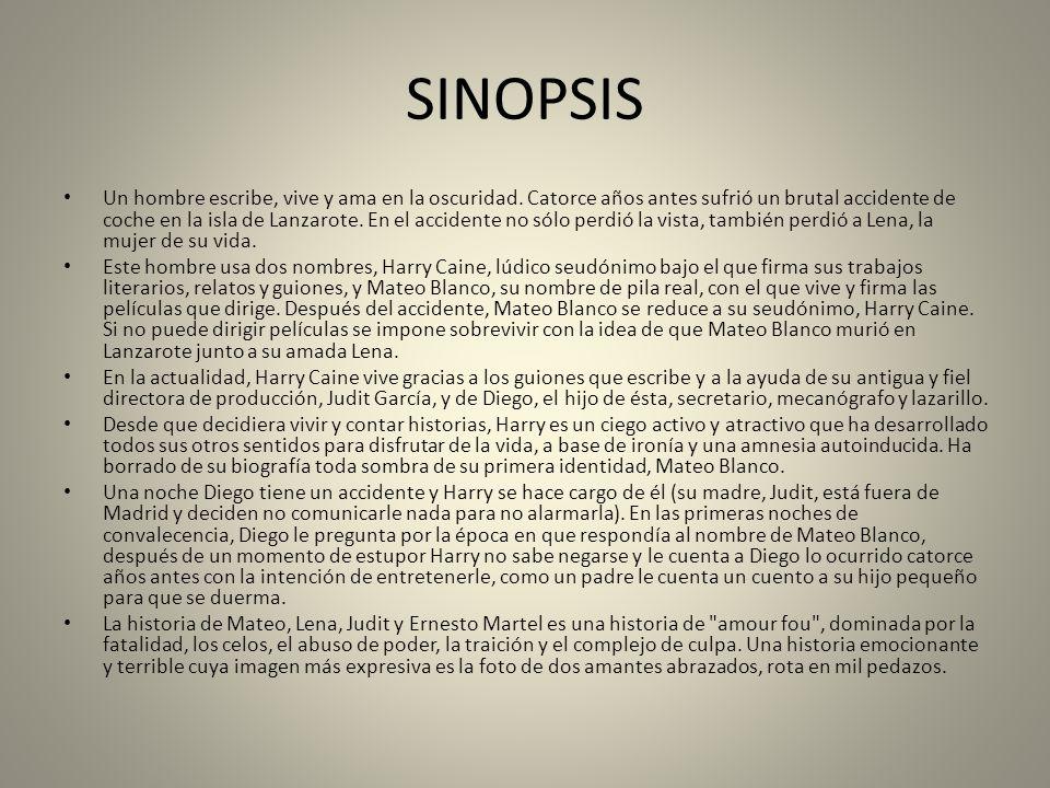 SINOPSIS Un hombre escribe, vive y ama en la oscuridad.
