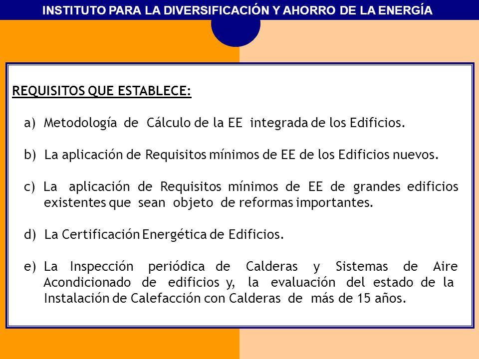REQUISITOS QUE ESTABLECE: a) Metodología de Cálculo de la EE integrada de los Edificios. b) La aplicación de Requisitos mínimos de EE de los Edificios