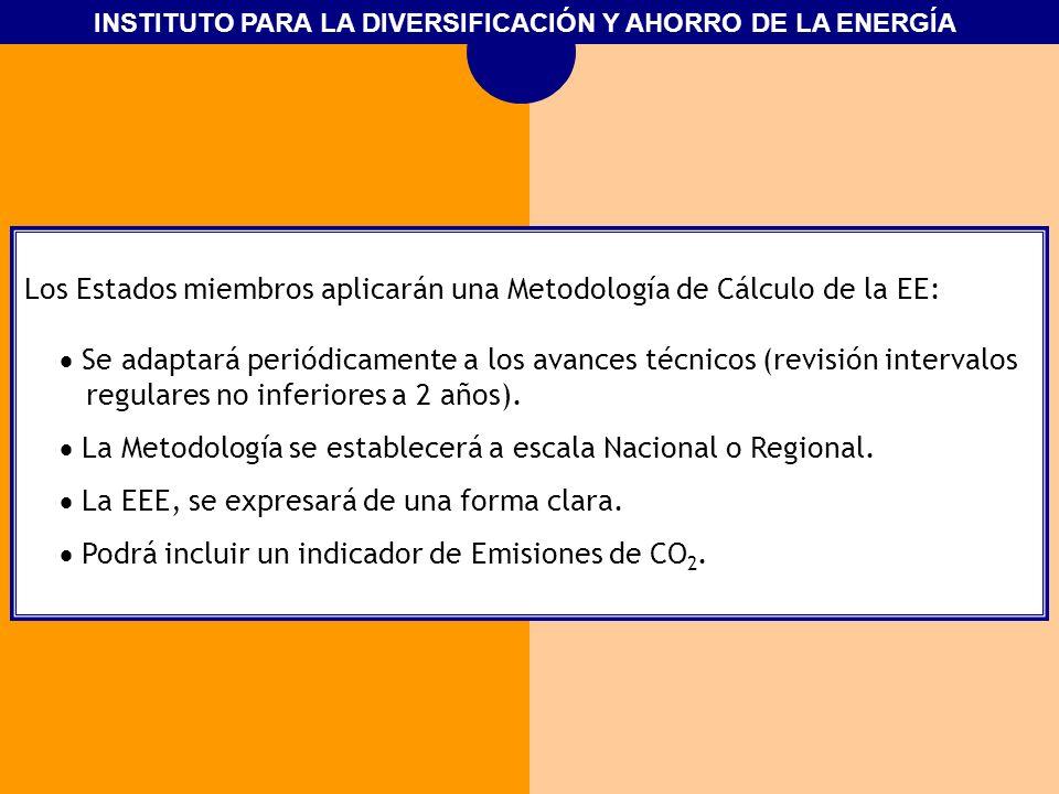 INSTITUTO PARA LA DIVERSIFICACIÓN Y AHORRO DE LA ENERGÍA Los Estados miembros aplicarán una Metodología de Cálculo de la EE: Se adaptará periódicament