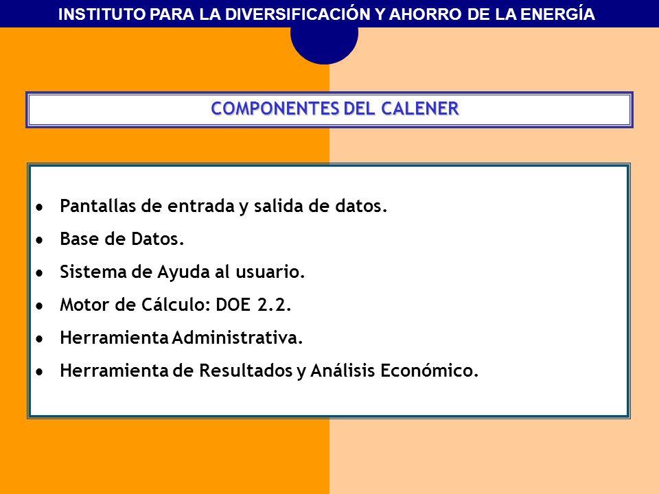INSTITUTO PARA LA DIVERSIFICACIÓN Y AHORRO DE LA ENERGÍA COMPONENTES DEL CALENER COMPONENTES DEL CALENER Pantallas de entrada y salida de datos. Base