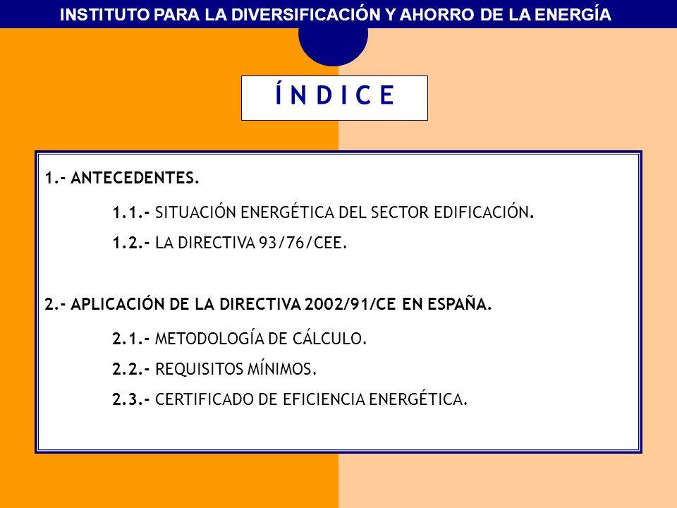INSTITUTO PARA LA DIVERSIFICACIÓN Y AHORRO DE LA ENERGÍA 1.- ANTECEDENTES. 1.1.- SITUACIÓN ENERGÉTICA DEL SECTOR EDIFICACIÓN. 1.2.- LA DIRECTIVA 93/76