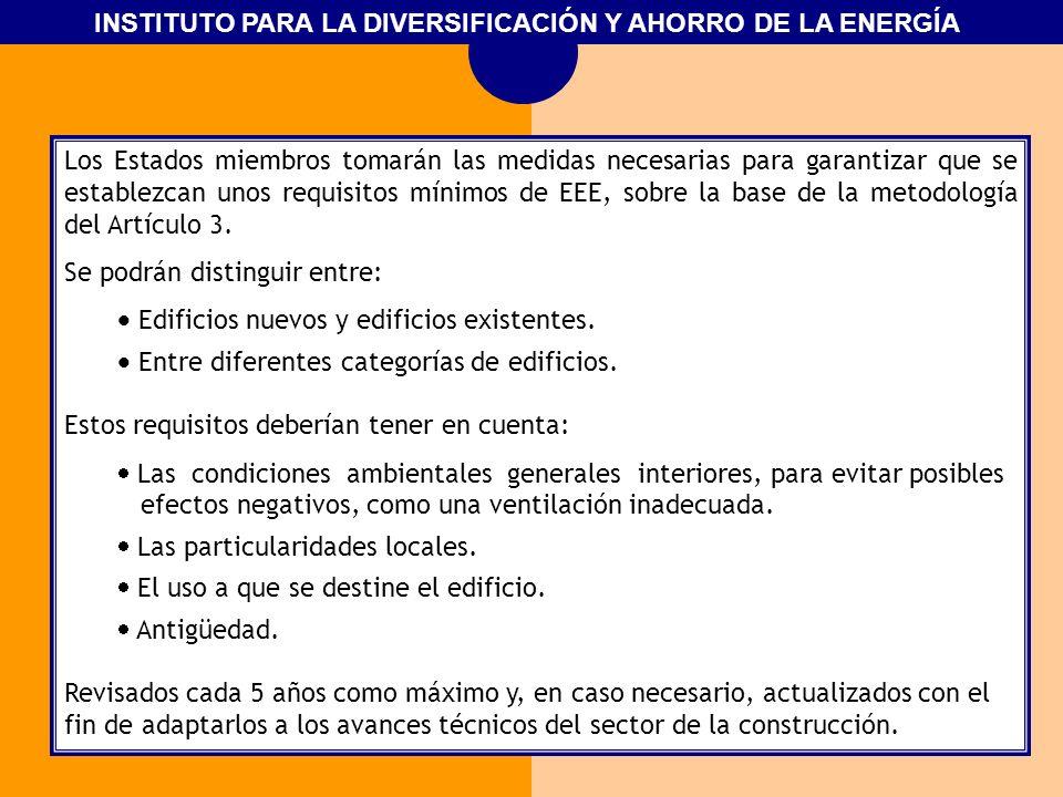 INSTITUTO PARA LA DIVERSIFICACIÓN Y AHORRO DE LA ENERGÍA Los Estados miembros tomarán las medidas necesarias para garantizar que se establezcan unos r