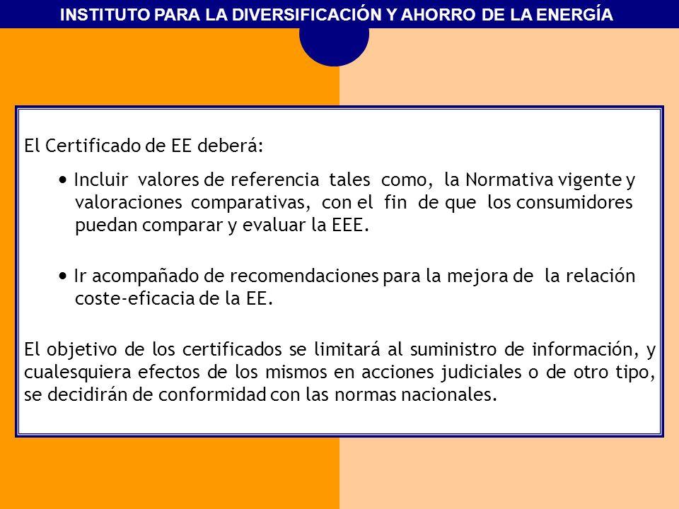 INSTITUTO PARA LA DIVERSIFICACIÓN Y AHORRO DE LA ENERGÍA El Certificado de EE deberá: Incluir valores de referencia tales como, la Normativa vigente y
