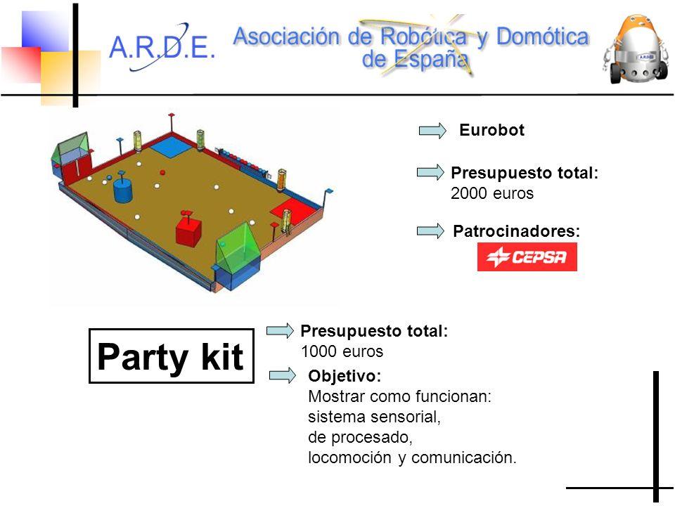 Eurobot Presupuesto total: 2000 euros Patrocinadores: Party kit Presupuesto total: 1000 euros Objetivo: Mostrar como funcionan: sistema sensorial, de procesado, locomoción y comunicación.