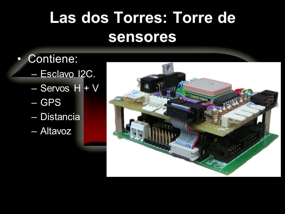 Las dos Torres: Torre de sensores Contiene: –Esclavo I2C. –Servos H + V –GPS –Distancia –Altavoz