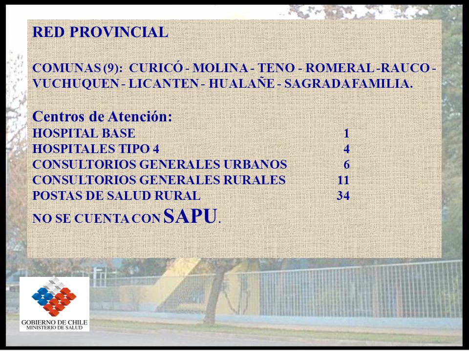 RED PROVINCIAL COMUNAS (9): CURICÓ - MOLINA - TENO - ROMERAL -RAUCO - VUCHUQUEN - LICANTEN - HUALAÑE - SAGRADA FAMILIA.