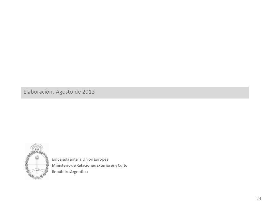 Embajada ante la Unión Europea Ministerio de Relaciones Exteriores y Culto República Argentina Elaboración: Agosto de 2013 24