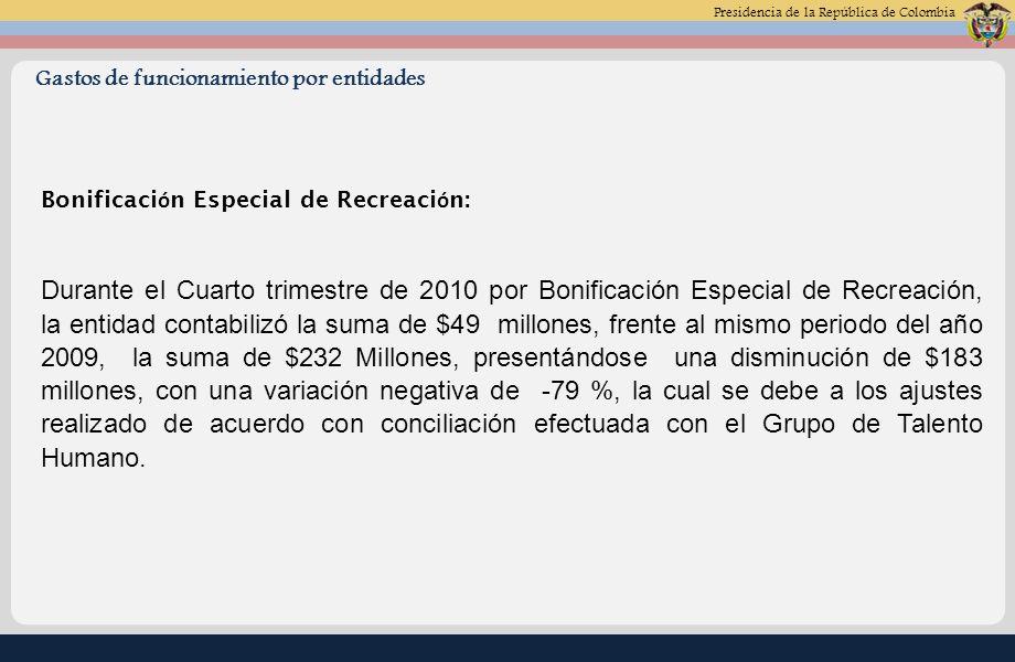 Presidencia de la República de Colombia Gastos de funcionamiento por entidades Bonificaci ó n Especial de Recreaci ó n: Durante el Cuarto trimestre de 2010 por Bonificación Especial de Recreación, la entidad contabilizó la suma de $49 millones, frente al mismo periodo del año 2009, la suma de $232 Millones, presentándose una disminución de $183 millones, con una variación negativa de -79 %, la cual se debe a los ajustes realizado de acuerdo con conciliación efectuada con el Grupo de Talento Humano.