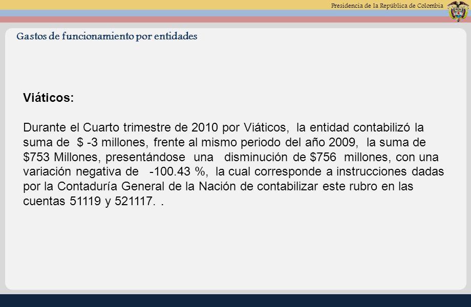 Presidencia de la República de Colombia Gastos de funcionamiento por entidades Viáticos: Durante el Cuarto trimestre de 2010 por Viáticos, la entidad contabilizó la suma de $ -3 millones, frente al mismo periodo del año 2009, la suma de $753 Millones, presentándose una disminución de $756 millones, con una variación negativa de -100.43 %, la cual corresponde a instrucciones dadas por la Contaduría General de la Nación de contabilizar este rubro en las cuentas 51119 y 521117..