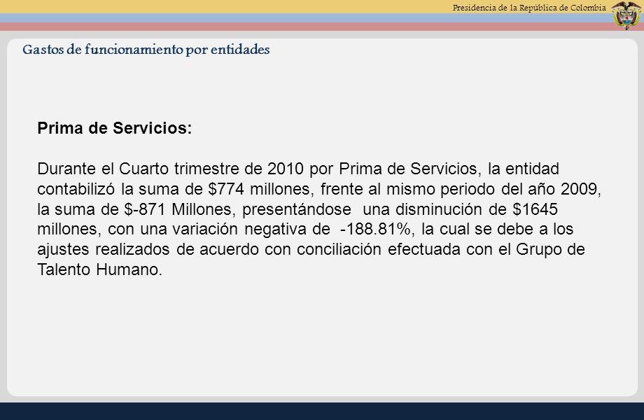 Presidencia de la República de Colombia Materiales y suministros: Durante el Cuarto trimestre de 2010 por Materiales y Suministros, la entidad contabilizó la suma de $820 millones, frente al mismo periodo del año 2009, la suma de $1.436 Millones, presentándose una disminución de $616 millones, con una variación negativa de -42.90%, la cual obedece a los requerimientos de consumo entre otros licencias para el centro de computo que fueron mayores en el año 2009.